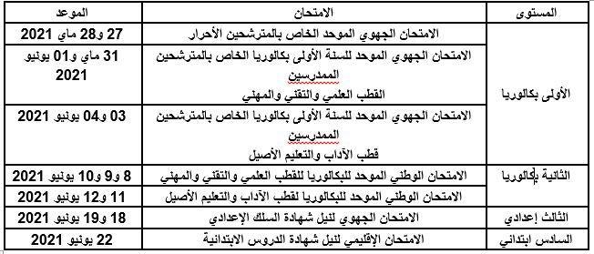 مواعيد الامتحانات المدرسية الإشهادية الخاصة بالأسلاك التعليمية الثلاثة